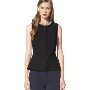 3.1 Phillip Lim black peplum top beaded neckline